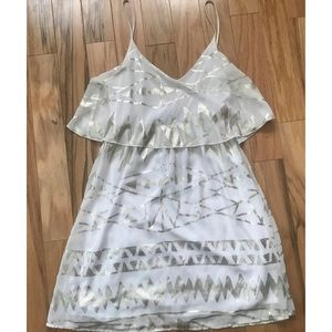 Francesca's White and Gold Dress